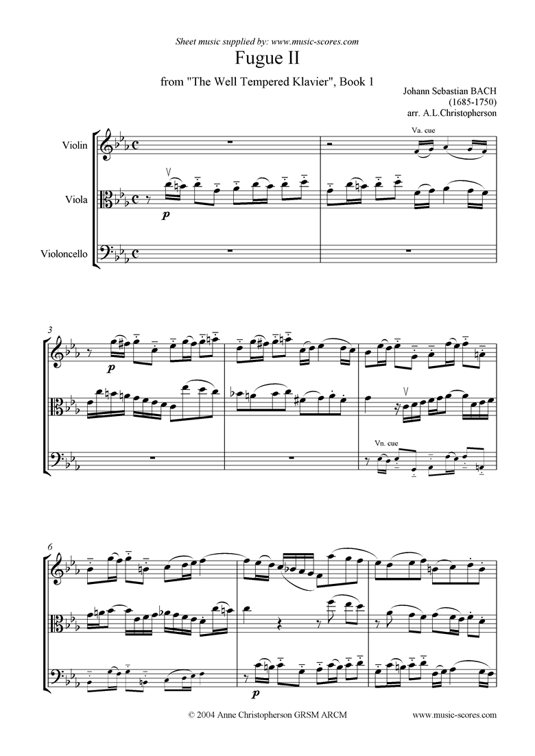 Front page of Well Tempered Clavier, Book 1: Fugue 2: vn, va, vc sheet music