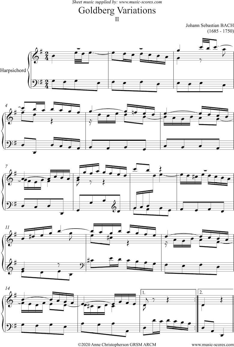 Front page of Goldberg Variations: No. 02: Harpsichord sheet music