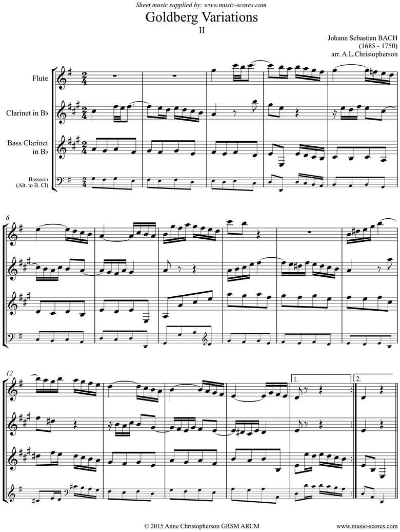 Front page of Goldberg Variations: No. 02: flute, clarinet, Bass clarinet or Bassoon sheet music