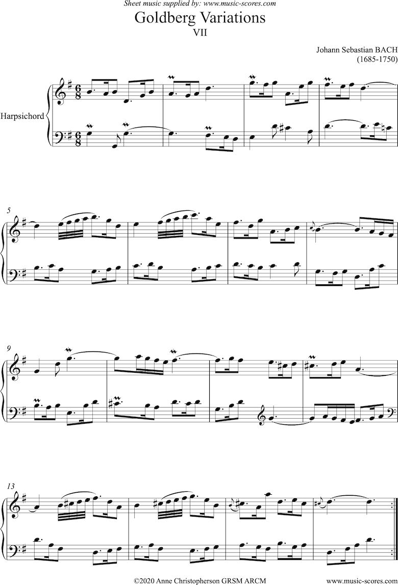 Front page of Goldberg Variations: No. 07: Harpsichord sheet music