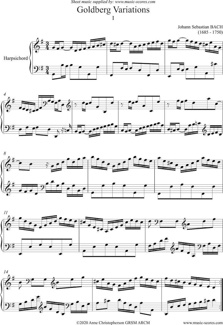 Front page of Goldberg Variations: No. 01: Harpsichord sheet music