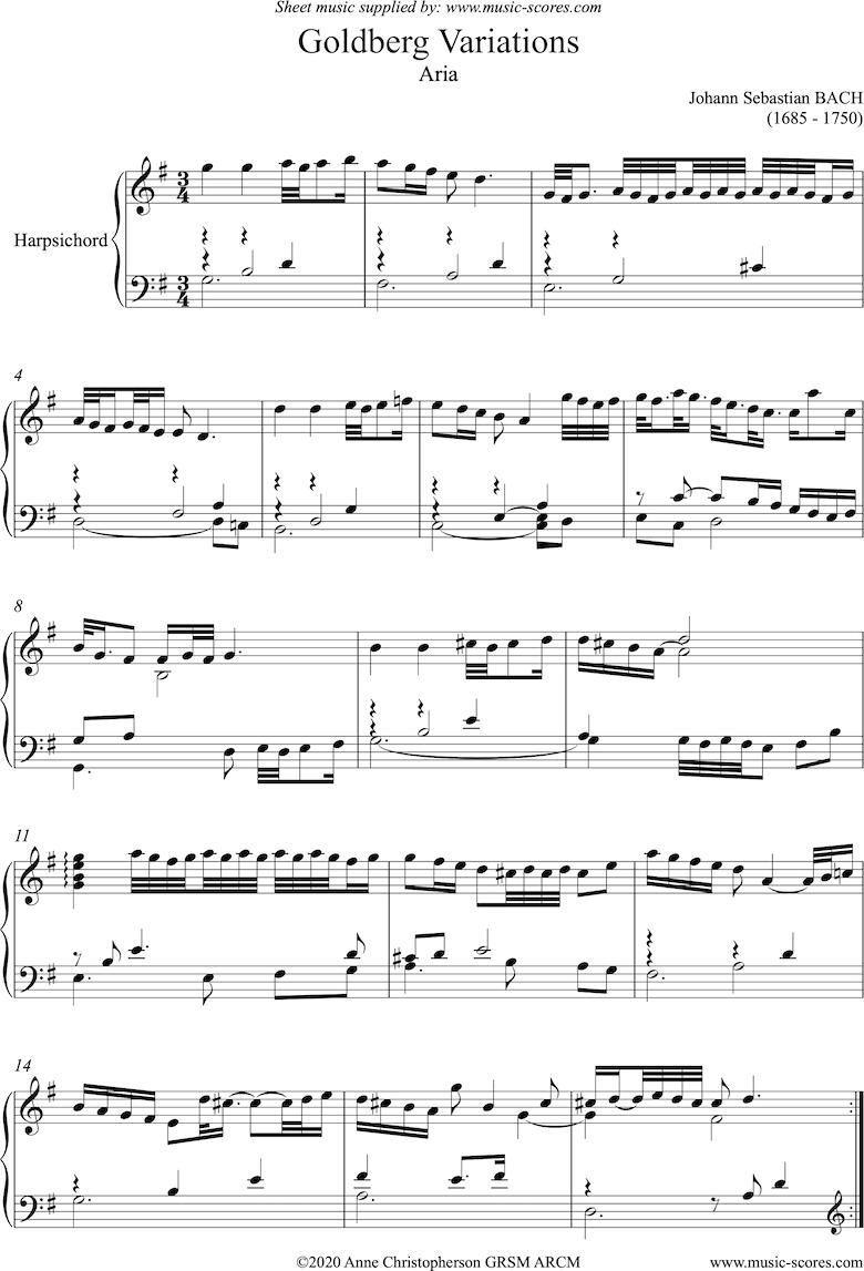 Goldberg Variations: No. 00 Aria by Bach