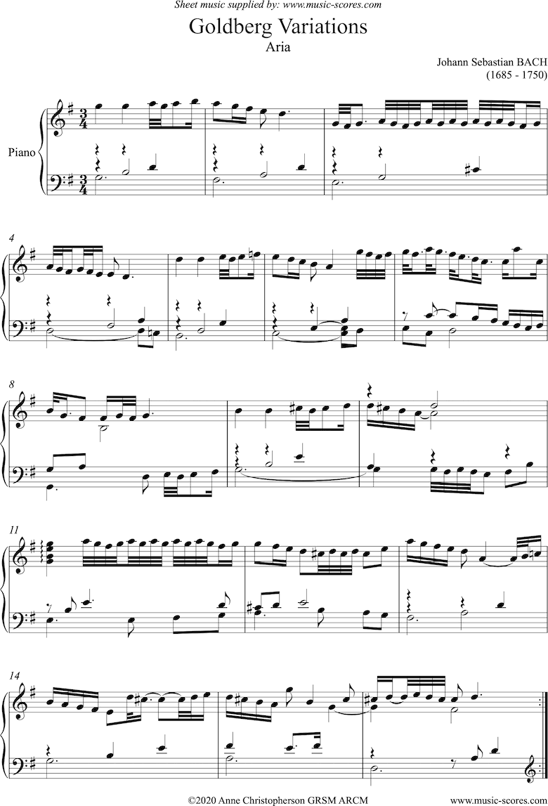 Front page of Goldberg Variations: No. 00 Aria sheet music
