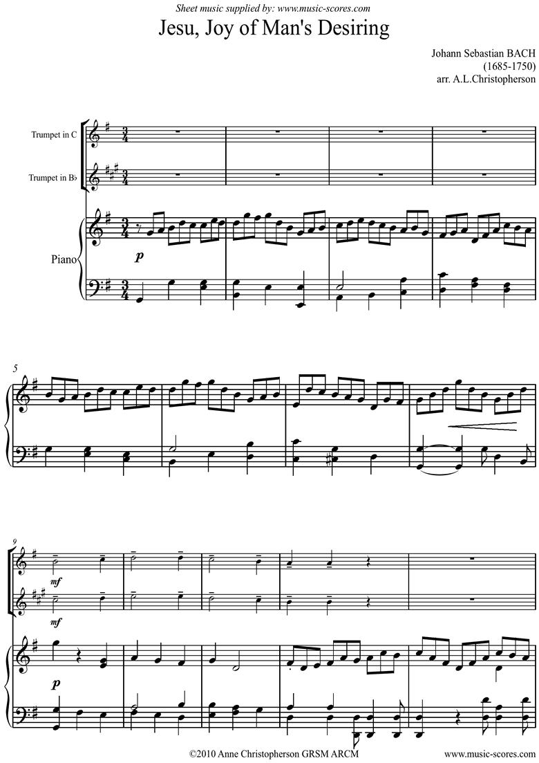 Jesu Joy: Church Cantata No.147: Trumpet by Bach