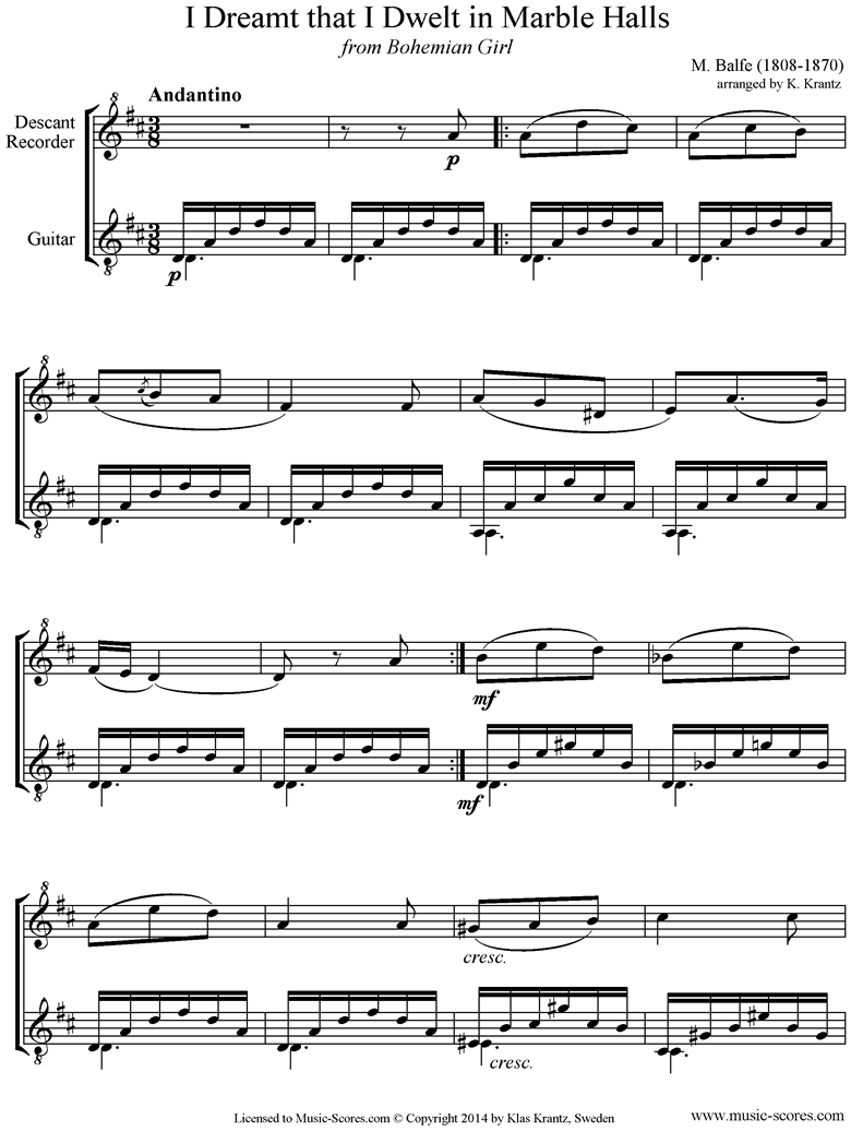Front page of I Dreamt that I Dwelt in Marble Halls: Descant Recorder, Guitar sheet music