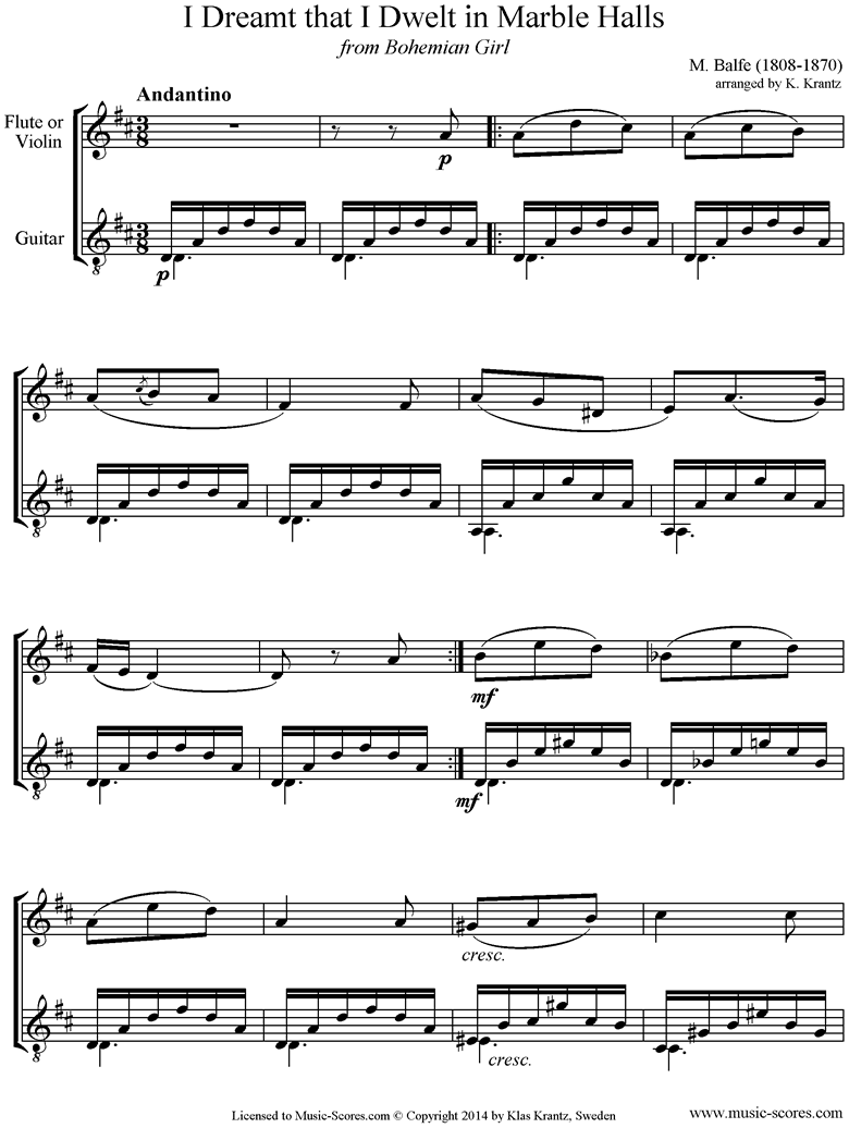 Front page of I Dreamt that I Dwelt in Marble Halls: Flute, Guitar sheet music