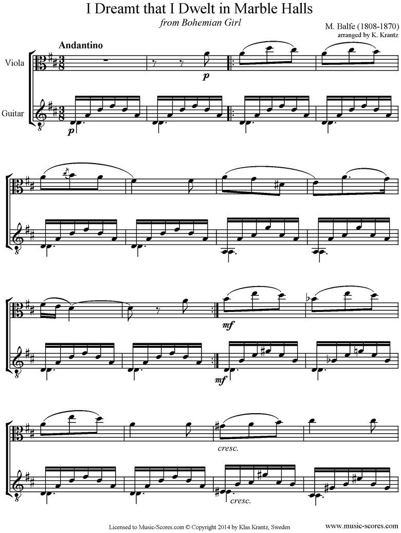 Front page of I Dreamt that I Dwelt in Marble Halls: Viola, Guitar sheet music