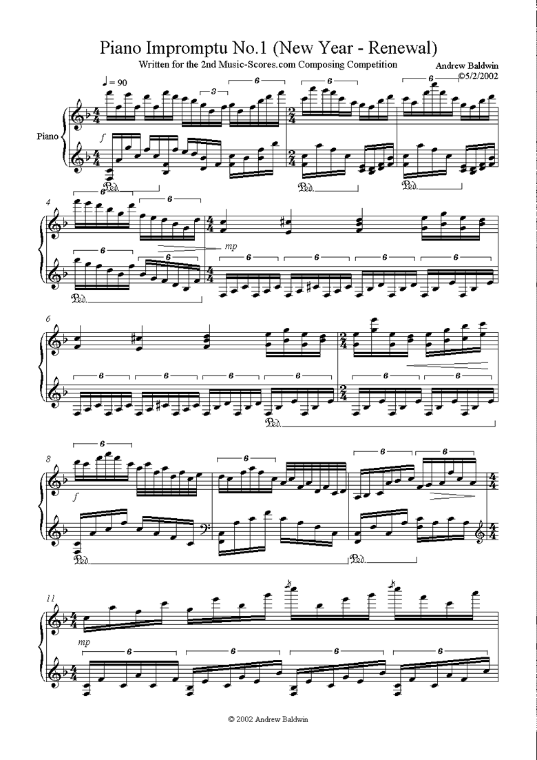 Front page of Piano Impromptu: No. 1 sheet music