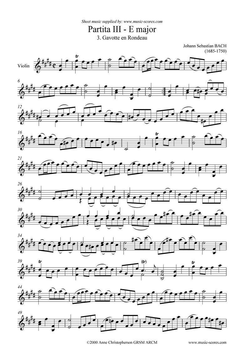 Front page of Partita No. III, 03: 3rd Movement sheet music
