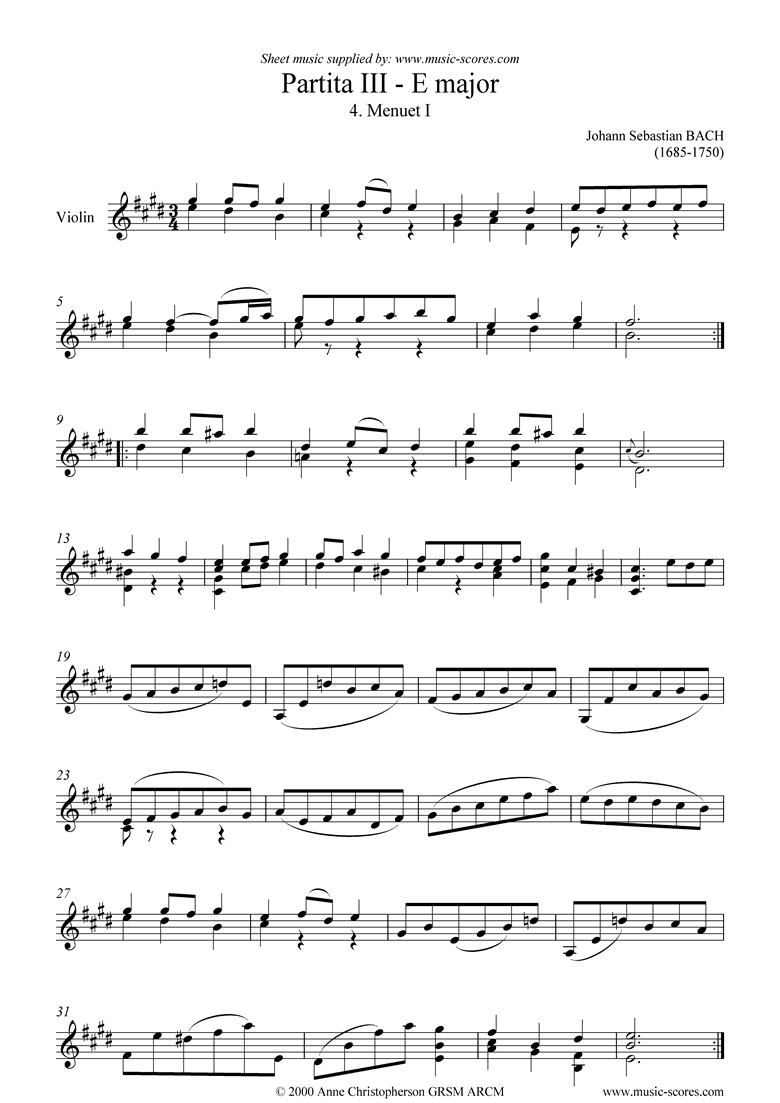 Front page of Partita No. III, 04: 4th Movement sheet music