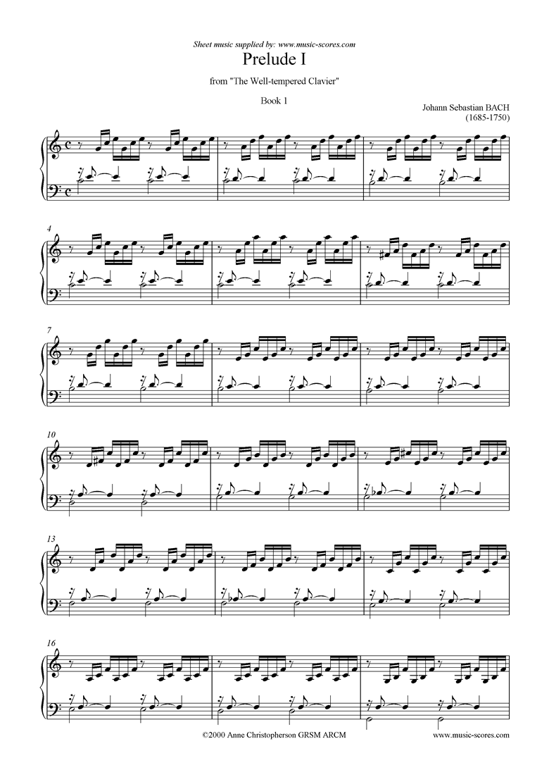 Front page of Well Tempered Clavier, Book 1: 01a: Prelude I sheet music