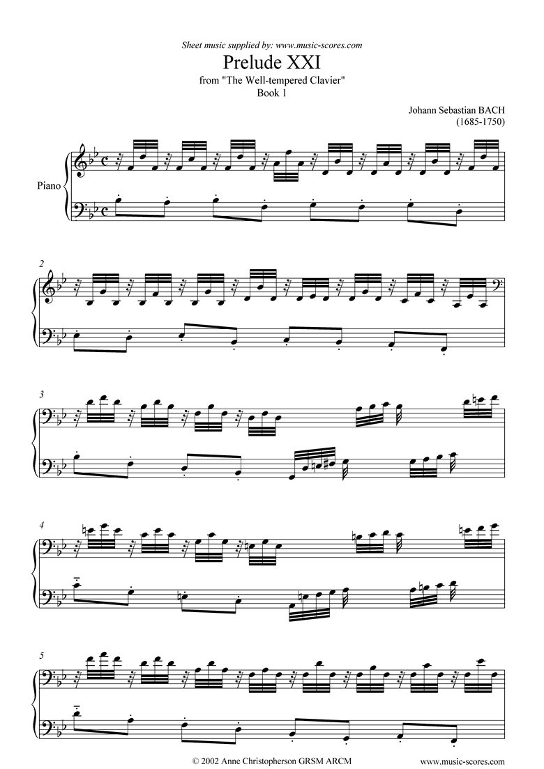 Front page of Well Tempered Clavier, Book 1: 21a: Prelude XXI sheet music
