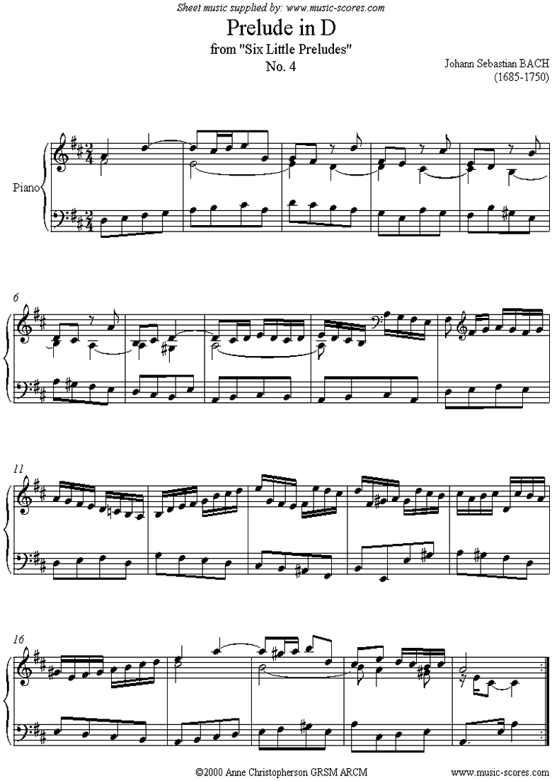 Front page of Prelude in D: Piano sheet music