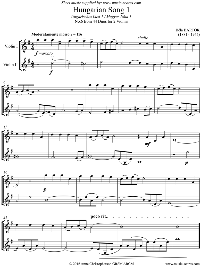 Front page of From 44 Duos: 06 Hungarian Song: 2 Violins sheet music