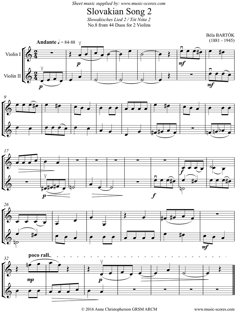 Front page of From 44 Duos: 08 Slovakian Song: 2 Violins sheet music