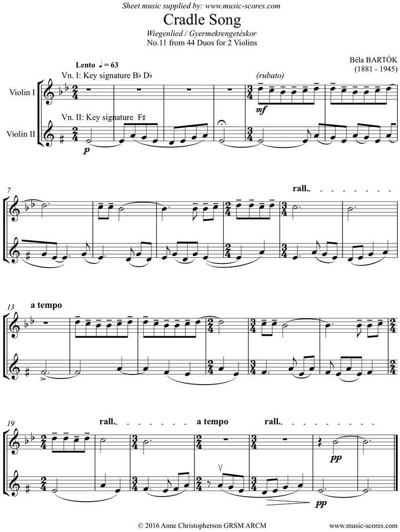 Front page of From 44 Duos: 11 Cradle Song: 2 Violins sheet music