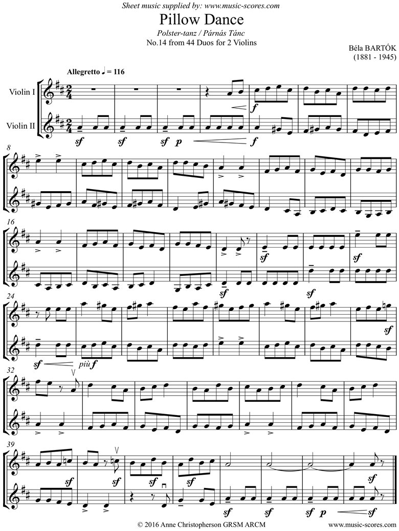 Front page of From 44 Duos: 14 Pillow Dance: 2 Violins sheet music