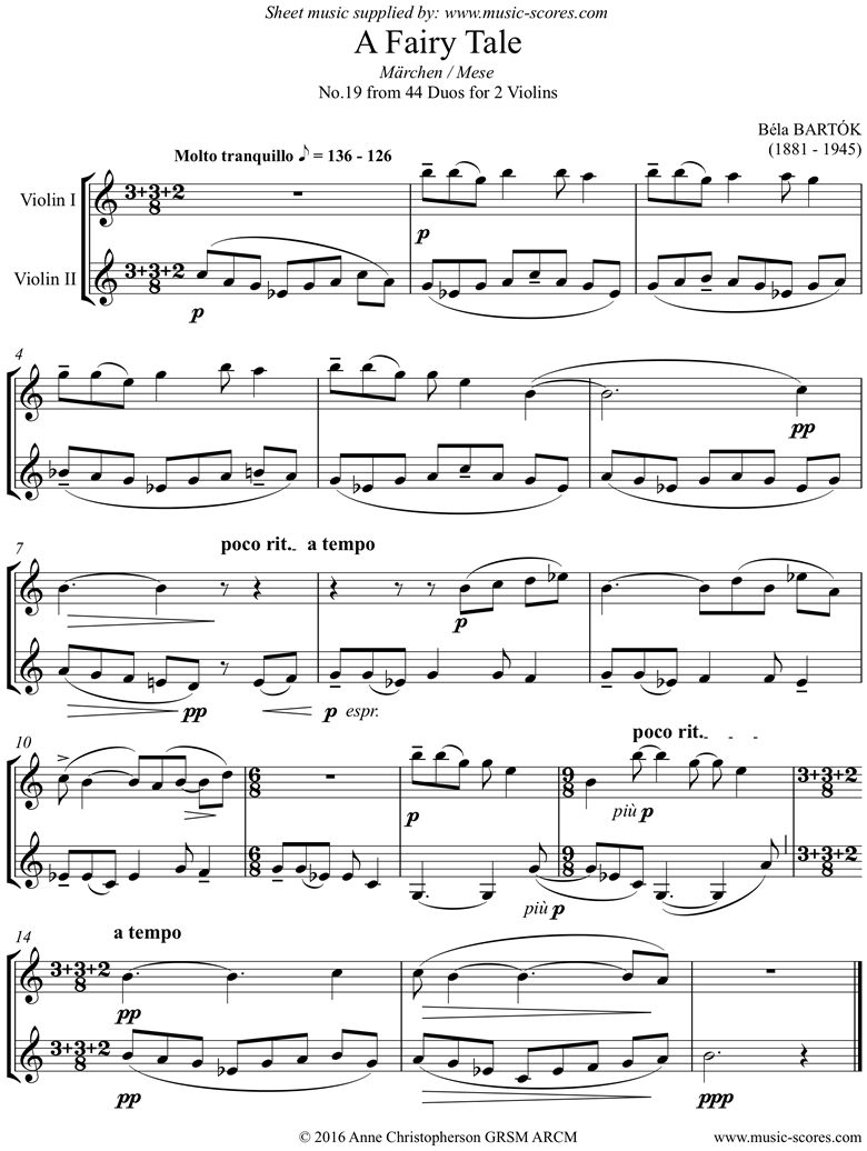 Front page of From 44 Duos: 19 Fairy Tale: 2 Violins sheet music