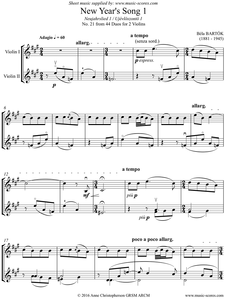 Front page of From 44 Duos: 21 New Years Song: 2 Violins sheet music