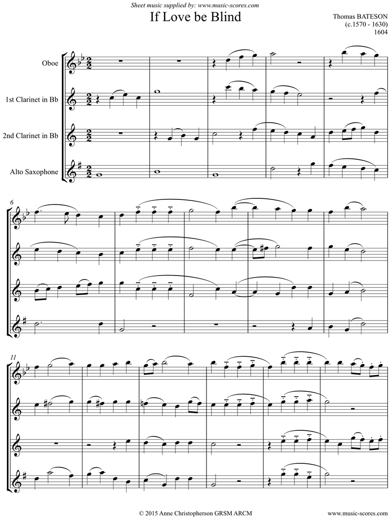 Front page of If Love Be Blind: Oboe, 2 Clarinets, Alto Sax sheet music