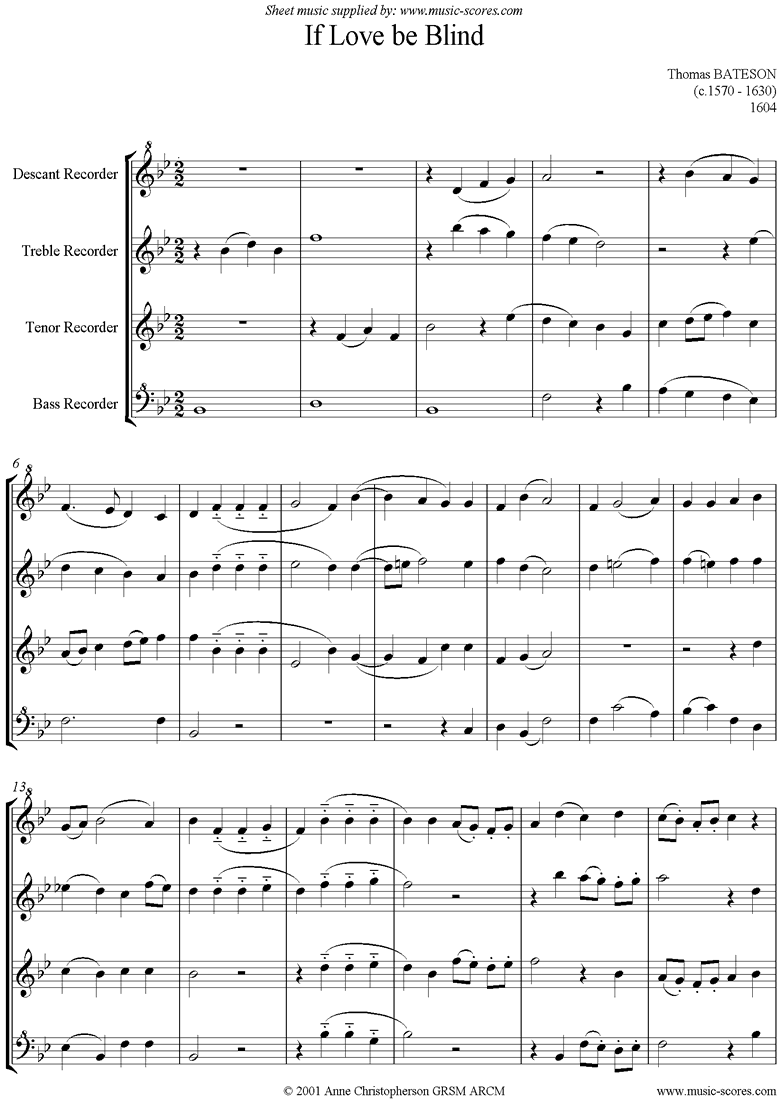 If Love Be Blind: Recorder Quartet by Bateson