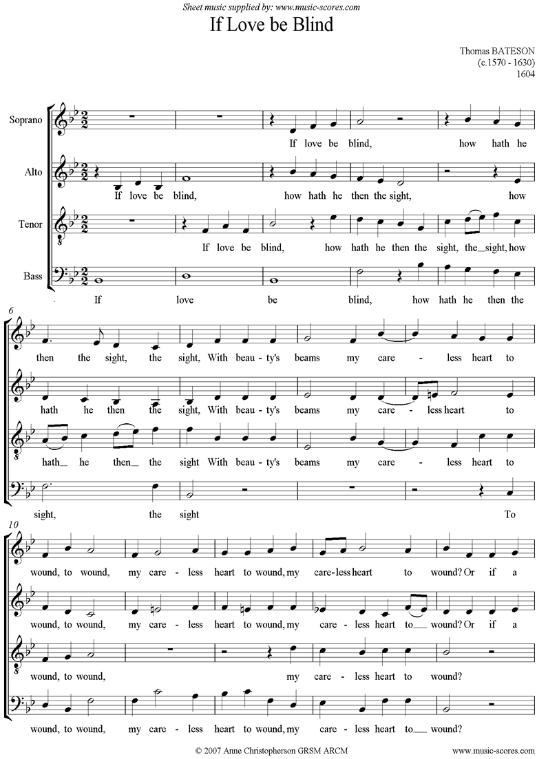 If Love Be Blind: SATB by Bateson