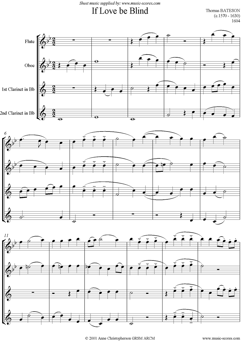 If Love Be Blind: Wind Quartet by Bateson