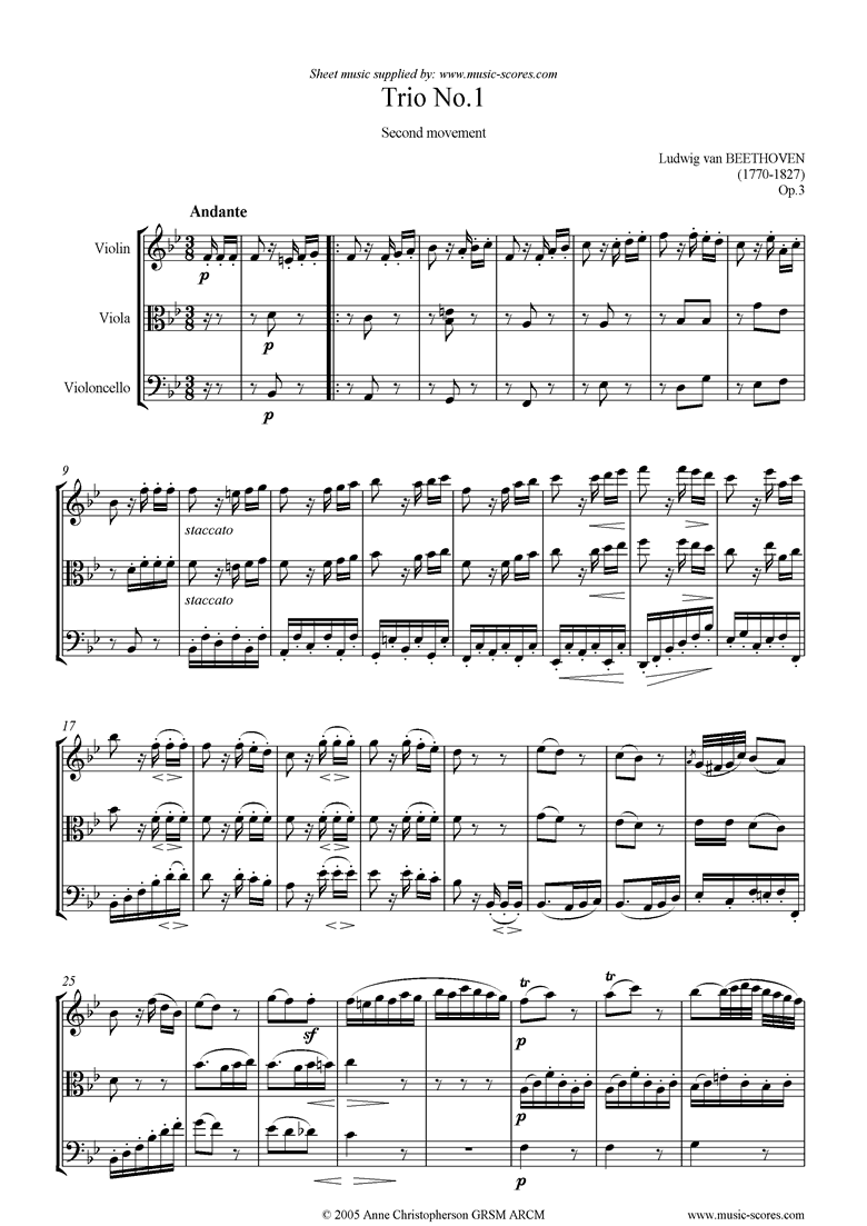 Front page of Op.03: Trio No.1: 2nd mt: Andante sheet music