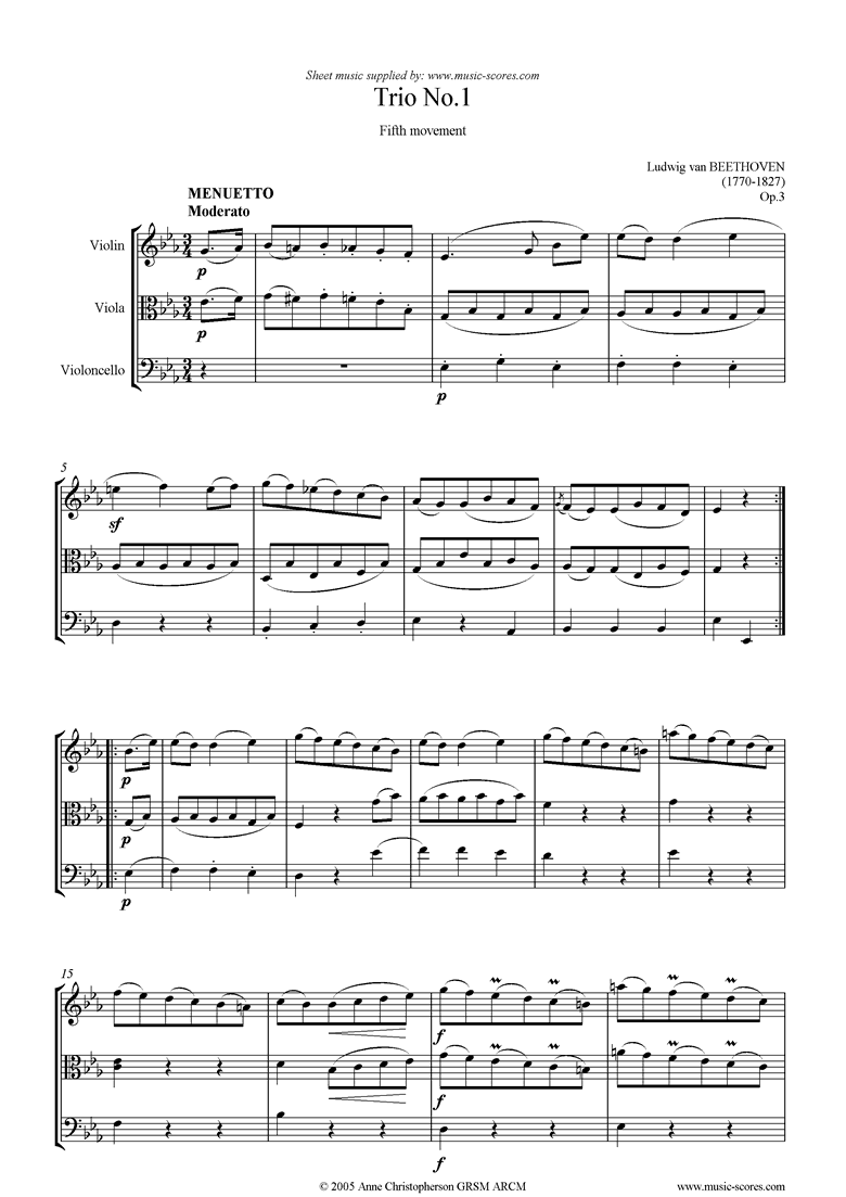Front page of Op.03: Trio No.1: 5th mt: Minuet and Minore sheet music