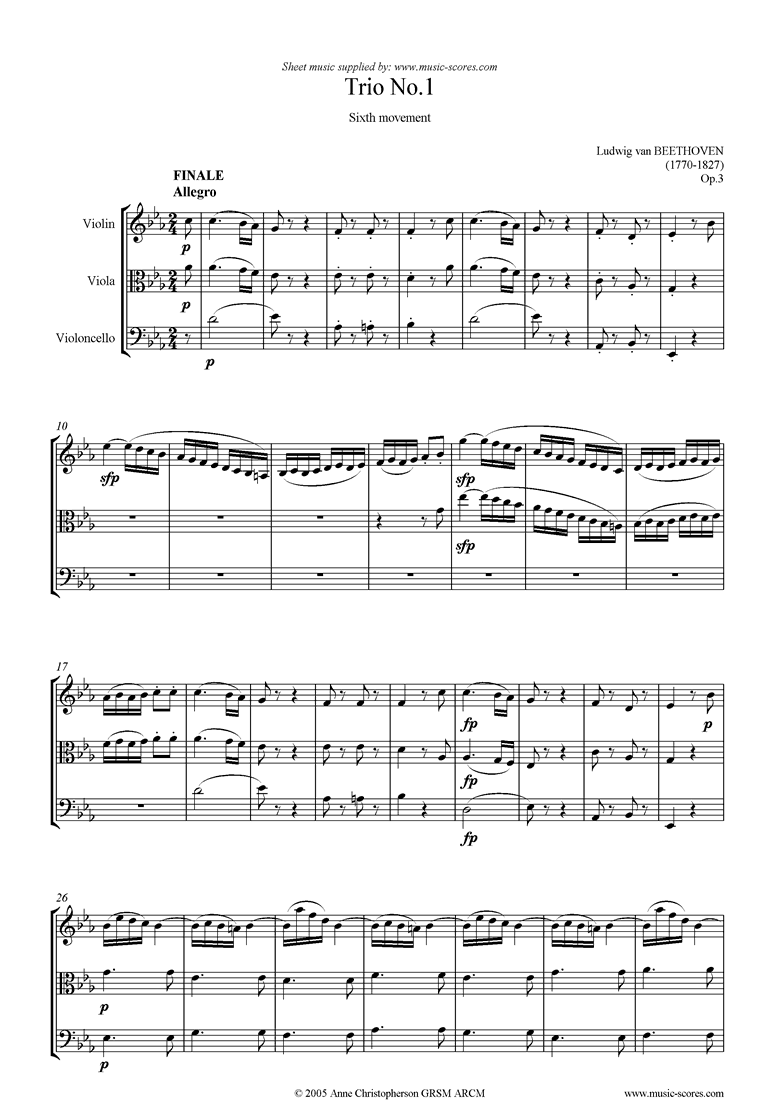 Front page of Op.03: Trio No.1: 6th mt: Allegro sheet music