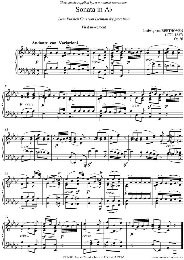 Front page of Op.26: Sonata 12: Ab: 1st Mt: Variations sheet music