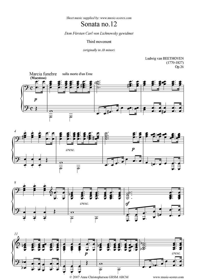 Front page of Op.26 Funeral March: A minor: Piano sheet music
