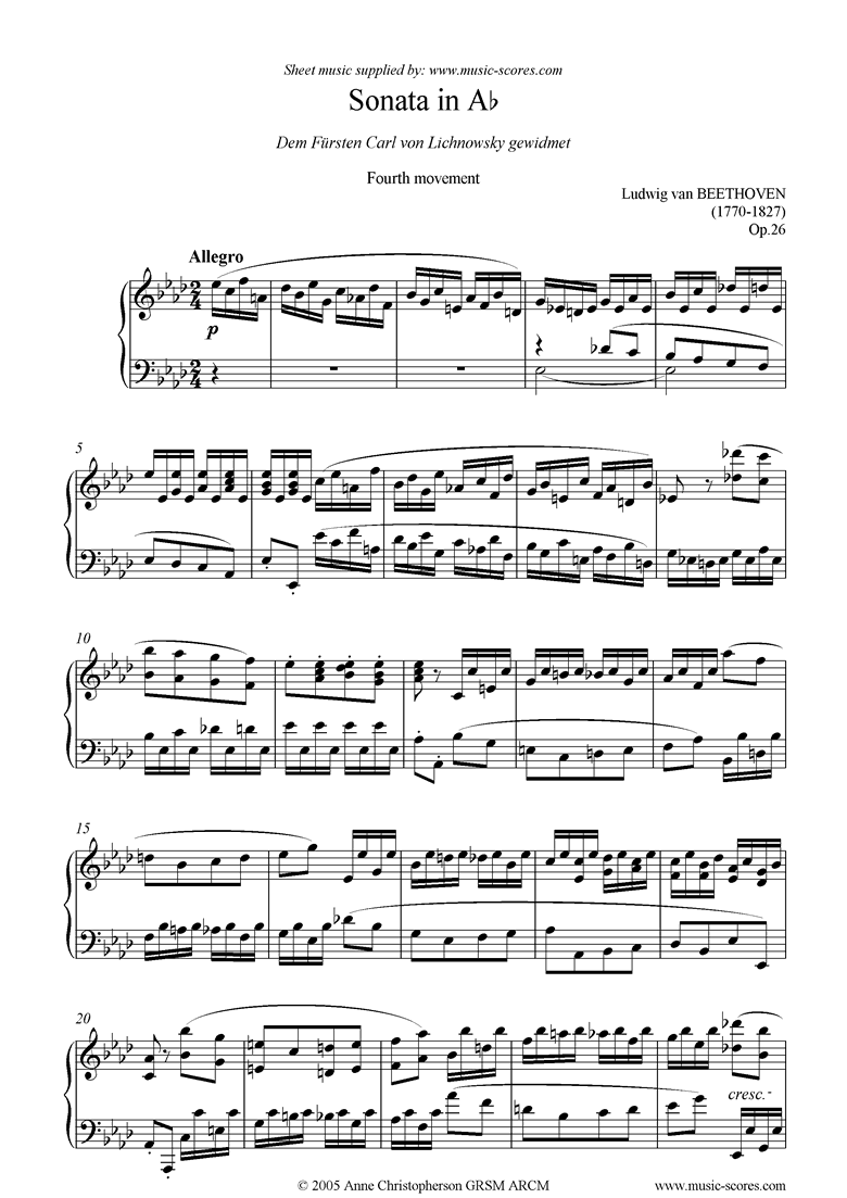 Front page of Op.26: Sonata 12: Ab: 4th Mt: Allegro sheet music