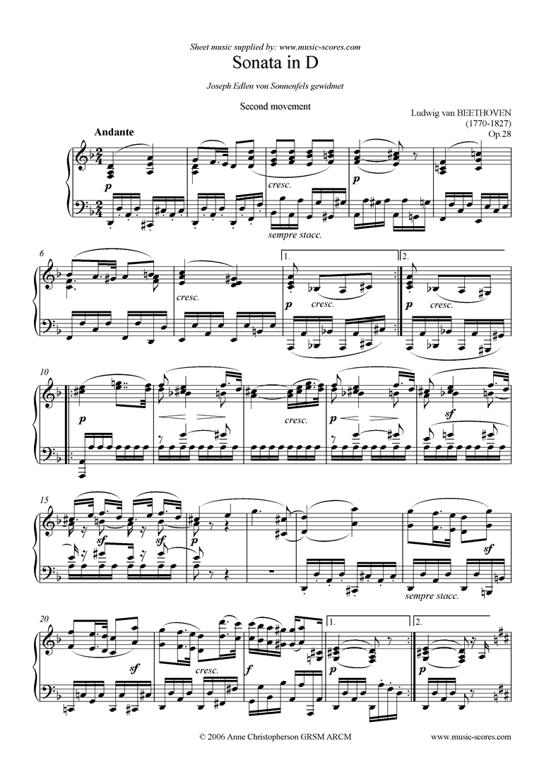 Front page of Op.28: Sonata 15: D, 2nd mvt: Andante sheet music