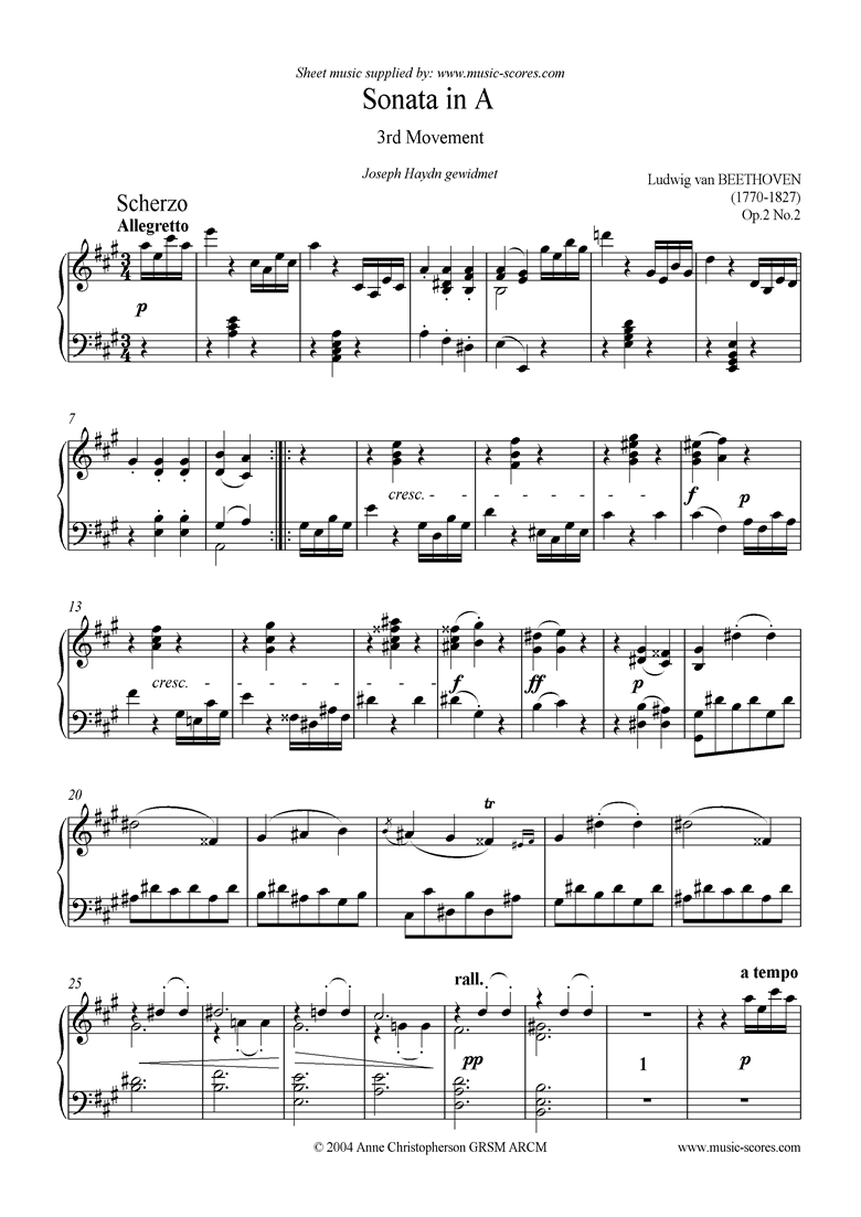 Front page of Op.02, No.2: Sonata 02: A: 3rd Mvt Scherzo and Trio sheet music