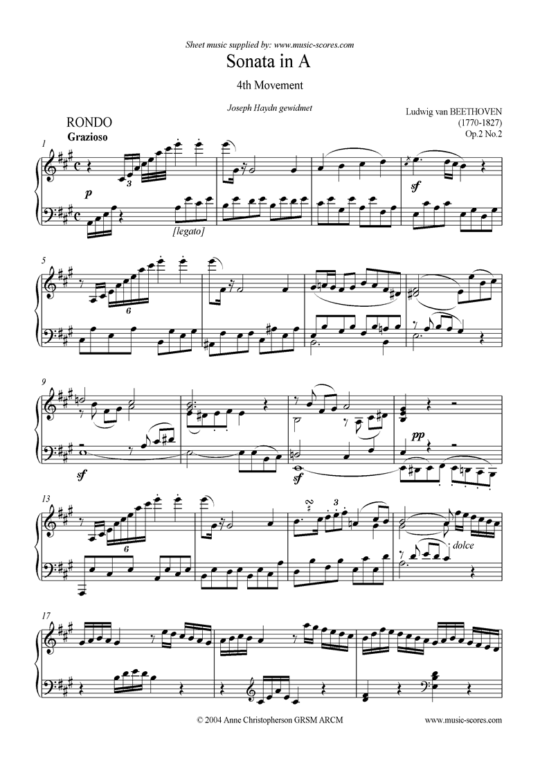 Front page of Op.02, No.2: Sonata 02: A: 4th Mvt: Rondo sheet music