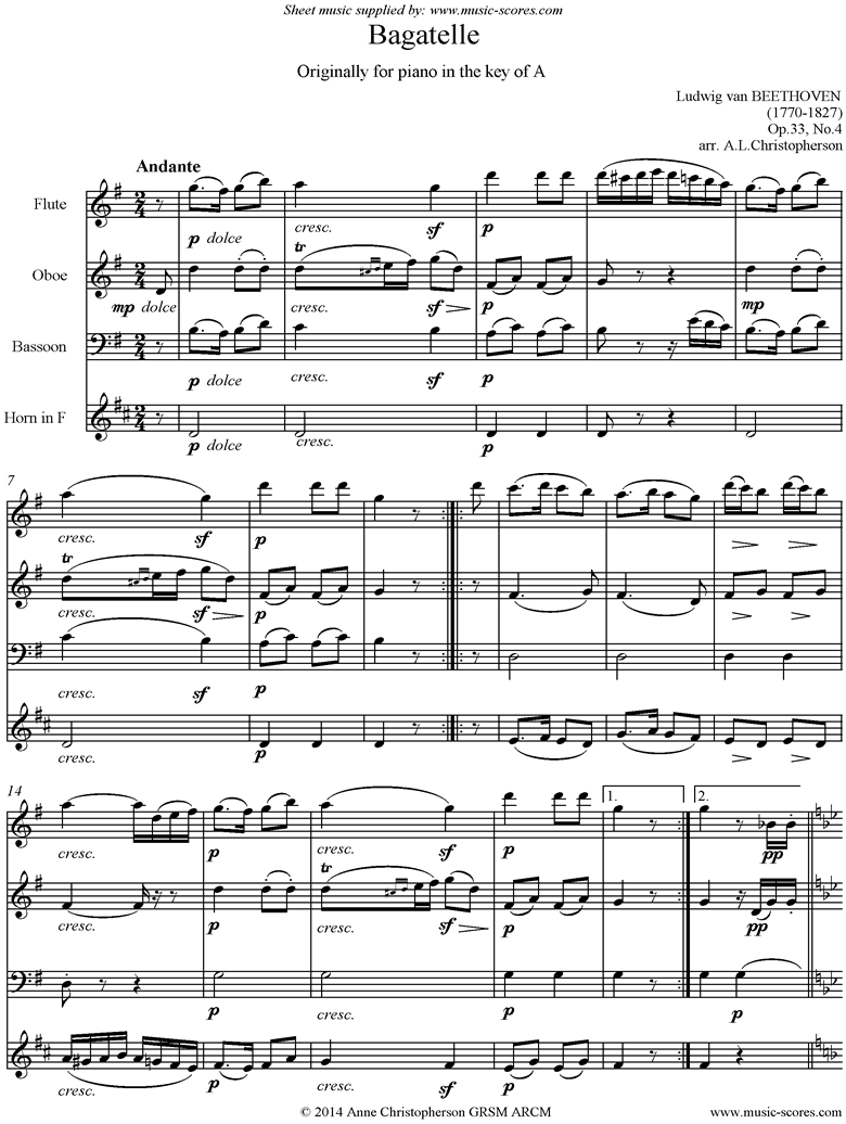 Front page of Op.33, No.4: Bagatelle in A: Flute, Oboe, Bassoon, French Horn sheet music
