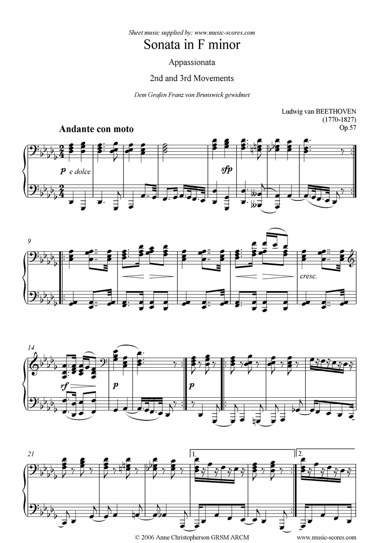 Front page of Op.57: Sonata 23: Appassionata: F mi: 2nd 3rd mvts sheet music