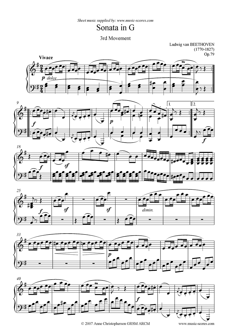 Front page of Op.79: Sonata 25: G: 3rd mvt: Vivace sheet music