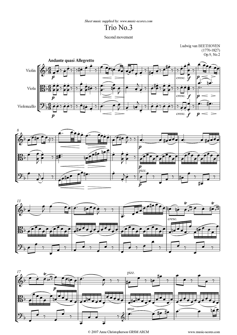 Front page of Op.09, No2: Trio No.3: 2nd mt: Andante sheet music