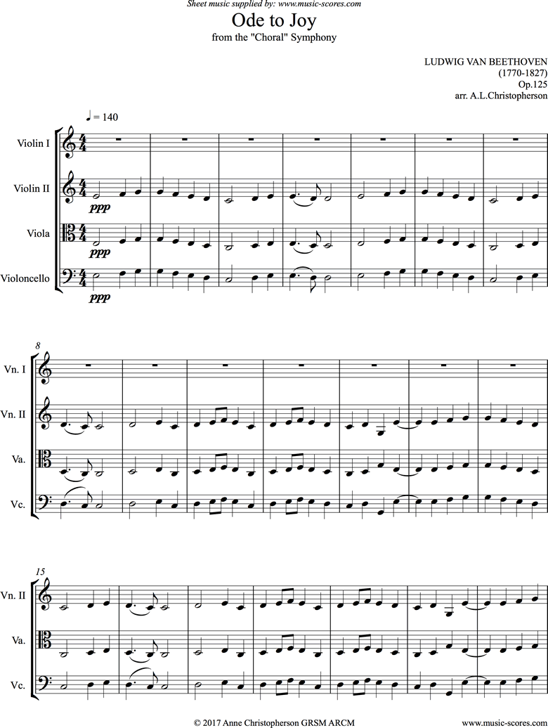 Front page of Ode to Joy: 9th Symphony: String Quartet Cma sheet music