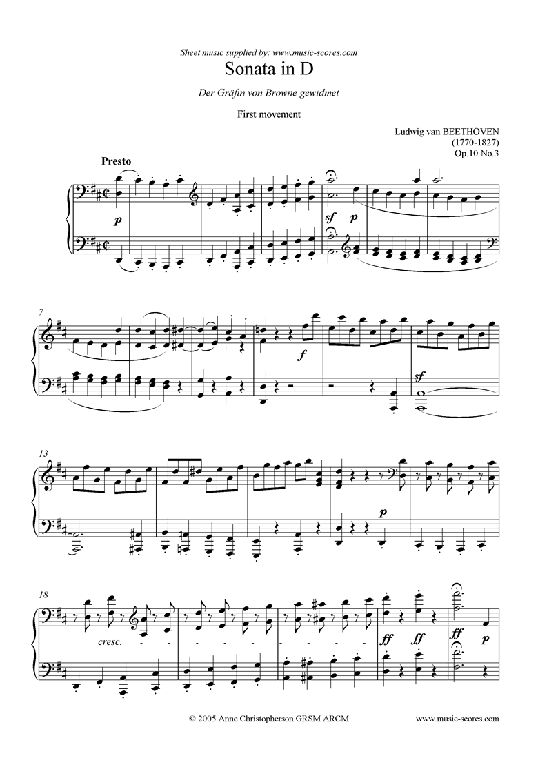 Front page of Op.10, No3: Sonata 07: D: 1st Mt: Presto sheet music