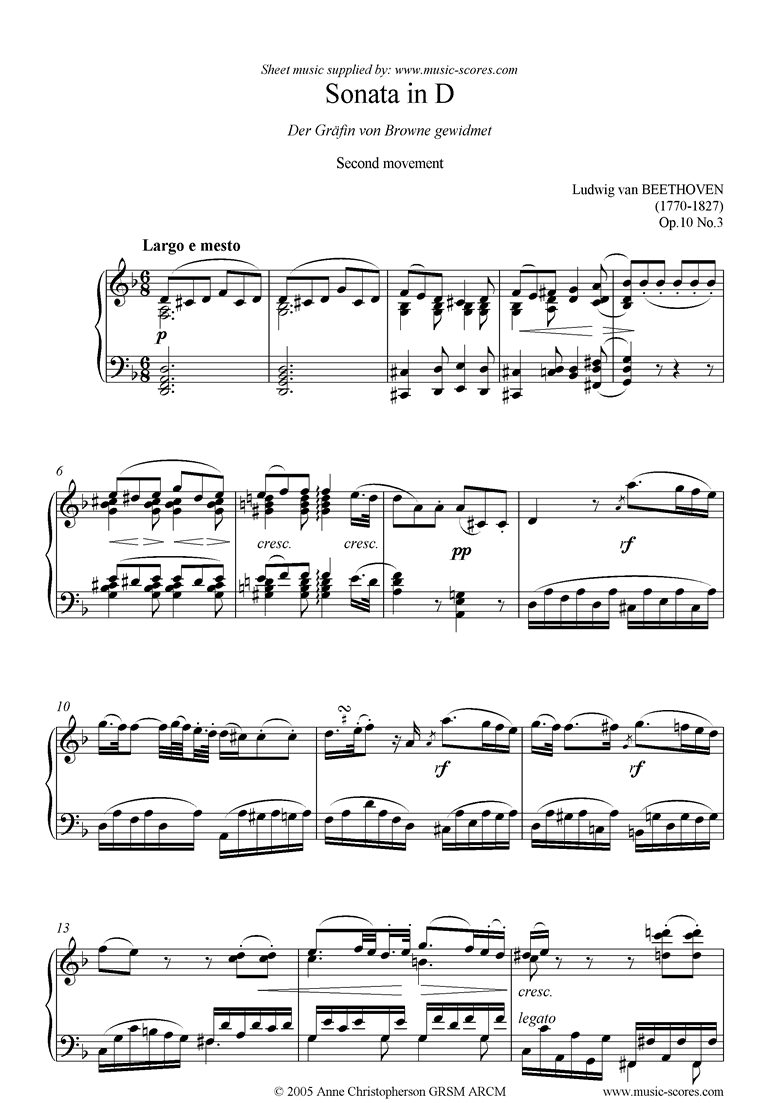 Front page of Op.10, No3: Sonata 07: D: 2nd Mt: Largo e mesto sheet music