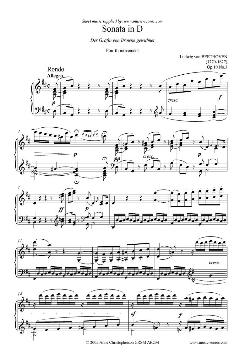 Front page of Op.10, No3: Sonata 07: D: 4th Mt: Rondo sheet music
