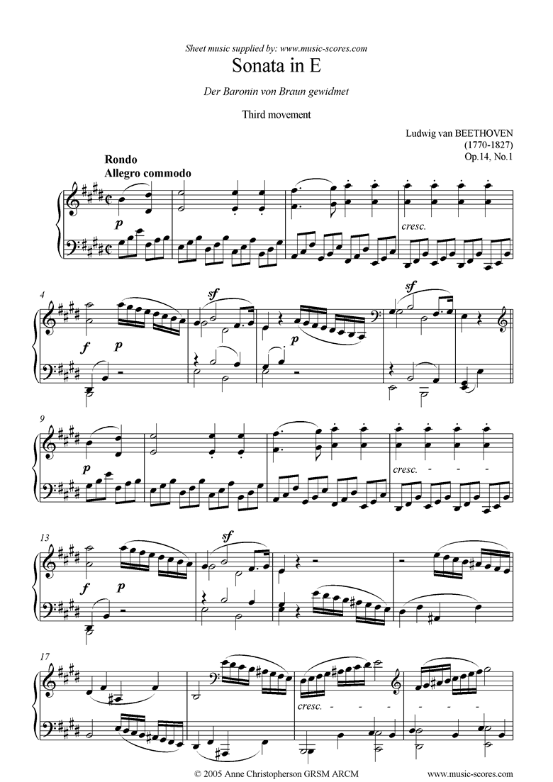 Front page of Op.14, No1: Sonata 09: E: 3rd Mt: Rondo sheet music