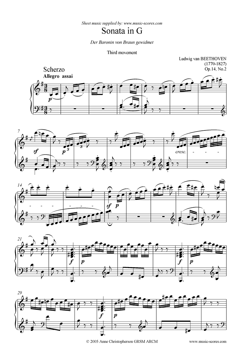 Front page of Op.14, No2: Sonata 10: G: 3rd Mt: Allegro Assai sheet music