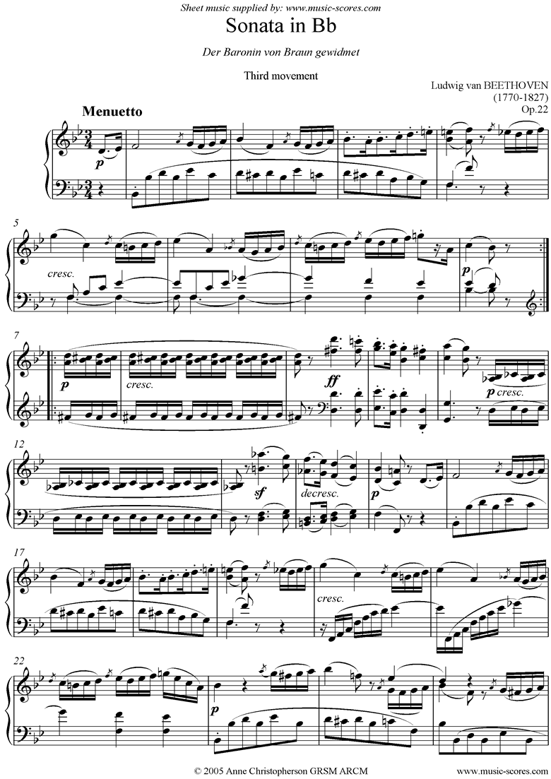 Front page of Op.22: Sonata 11: Bb: 3rd Mt: Minuetto and Minore sheet music