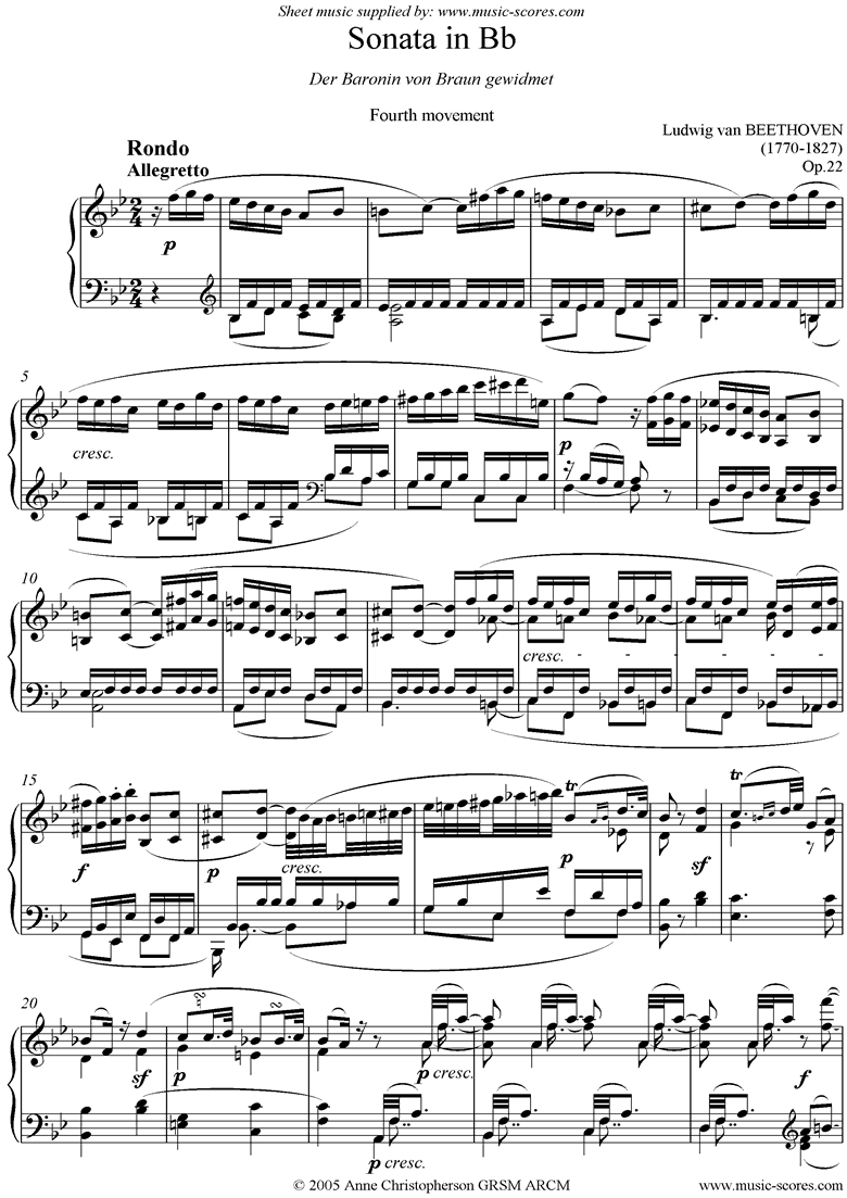 Front page of Op.22: Sonata 11: Bb: 4th Mt: Rondo sheet music