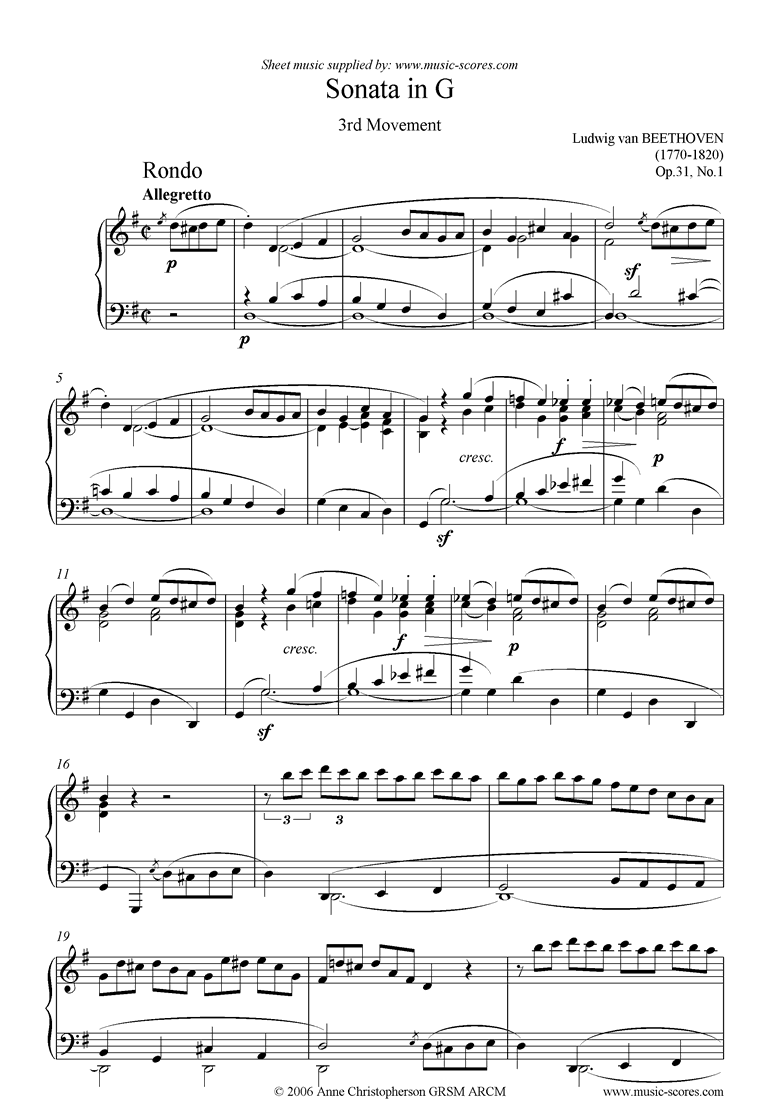 Front page of Op.31, No.1: Sonata 16: G, 3rd mvt: Rondo sheet music