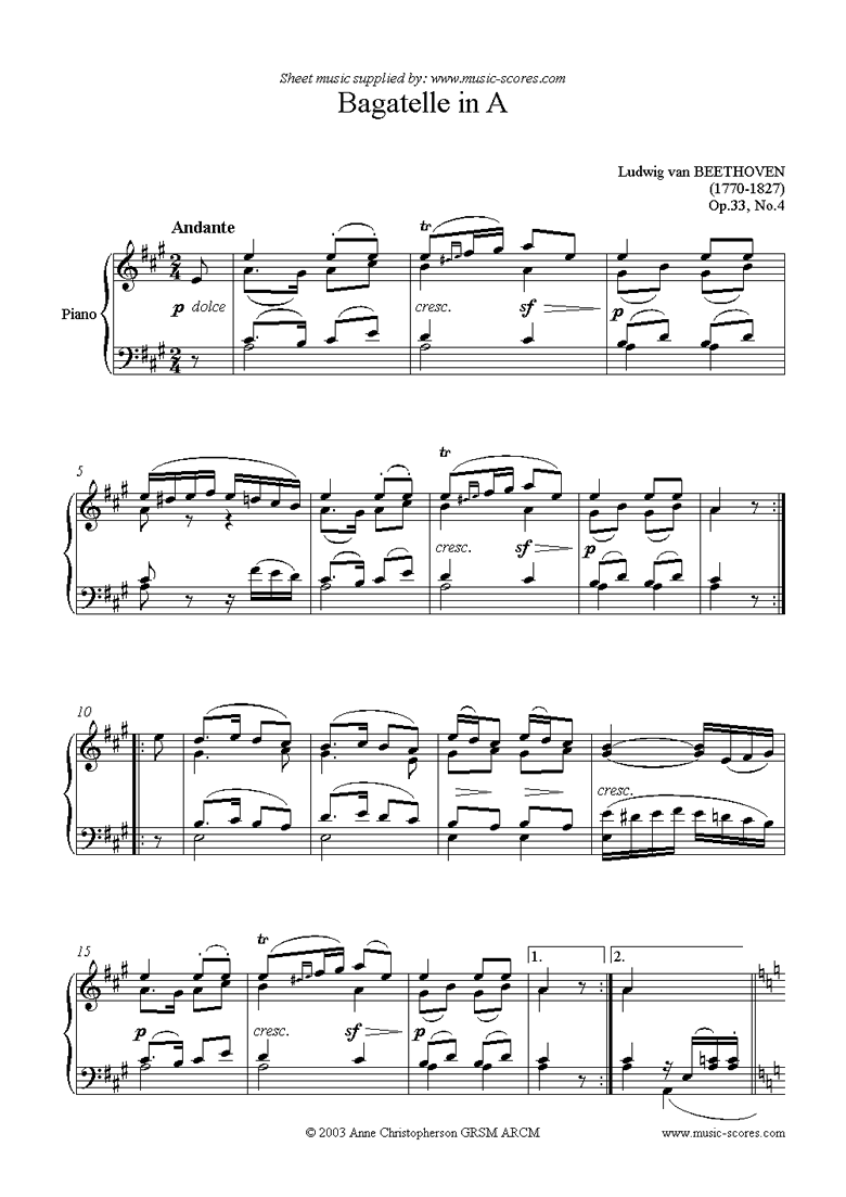 Front page of Op.33, No.4: Bagatelle in A: Piano sheet music
